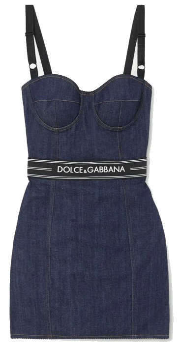 Paneled denim bustier mini dress