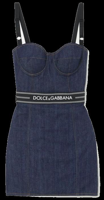 Paneled denim bustier mini dress