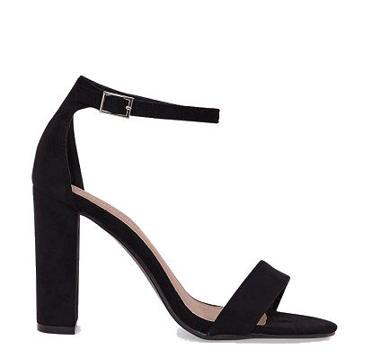 MAY BLACK FAUX SUEDE BLOCK HEELED SANDALS
