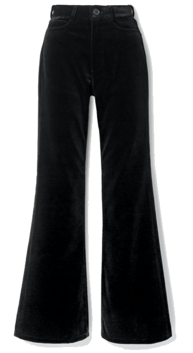 Cotton-velvet flared pants
