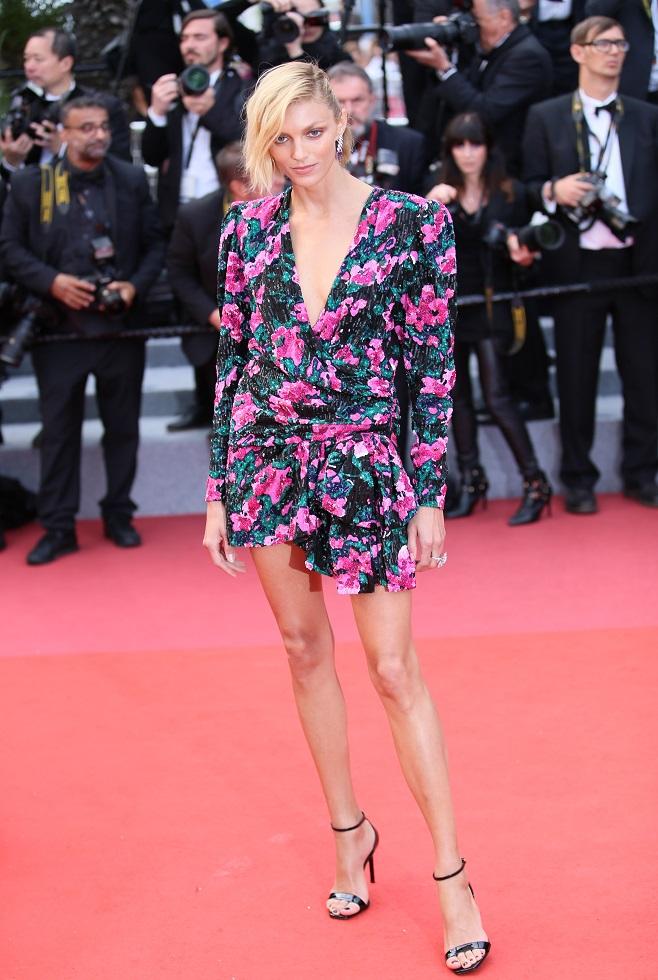 Anja Rubik in floral dress