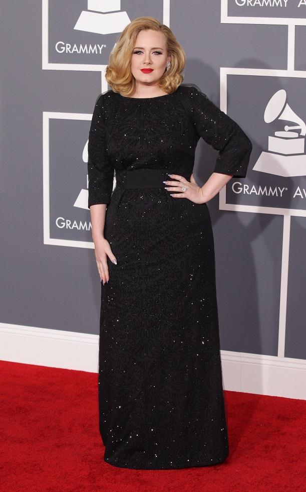 Adele wears black sequin maxi dress