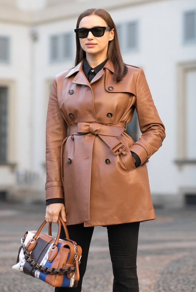 Irina Shayk in leather trench