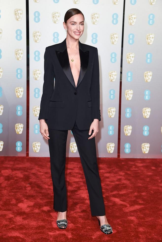 Irina Shayk in classic black suit