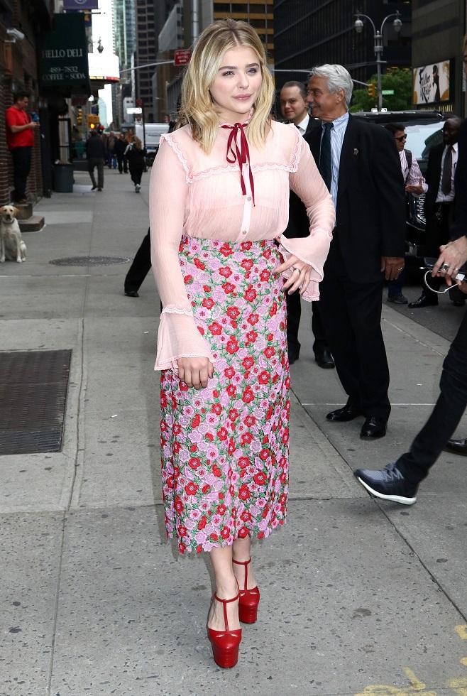 Chloe Grace Moretz wears pink