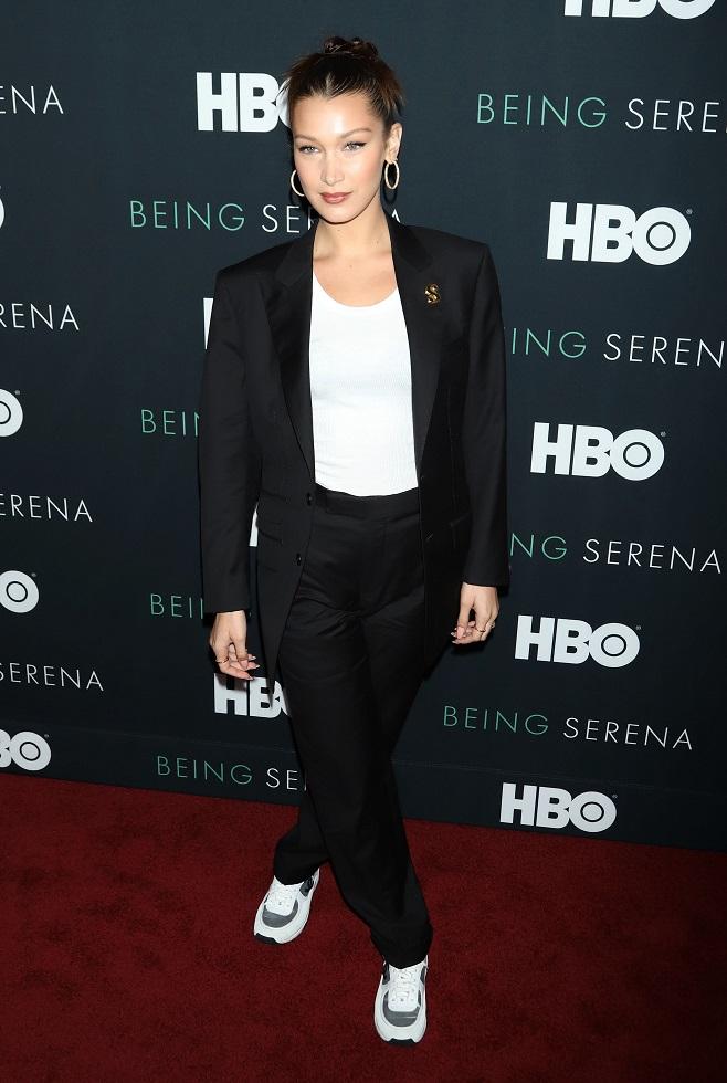 Bella Hadid in classic black suit