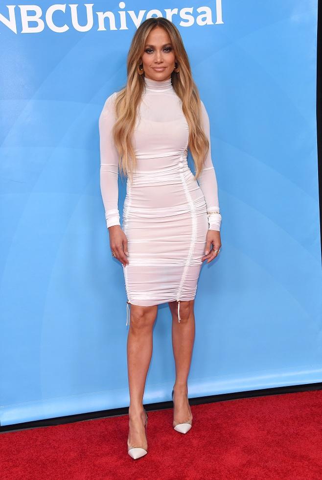 Jennifer Lopez in white pencil dress
