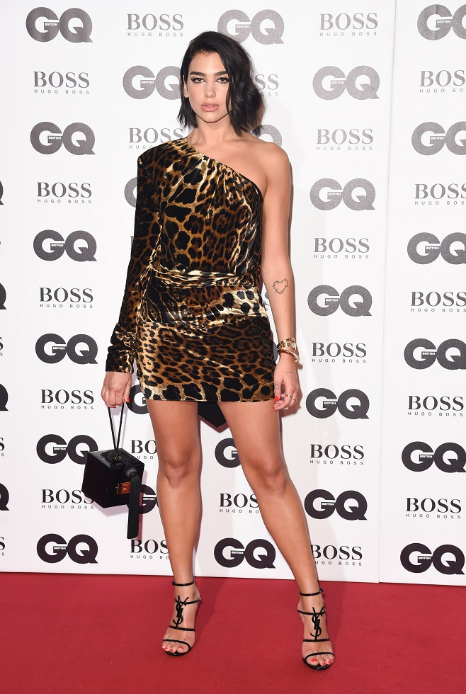 Dua Lipa in brown leopard dress