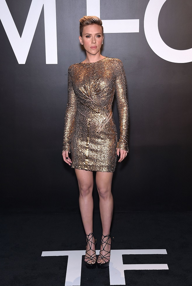 Scarlet Johannson in gold party dress