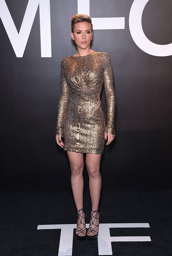 Scarlet Johannson in gold party dress