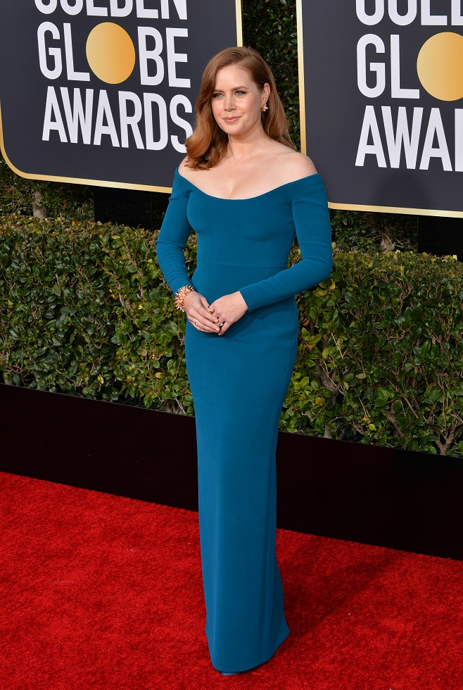 Amy Adams in navy bardot dress