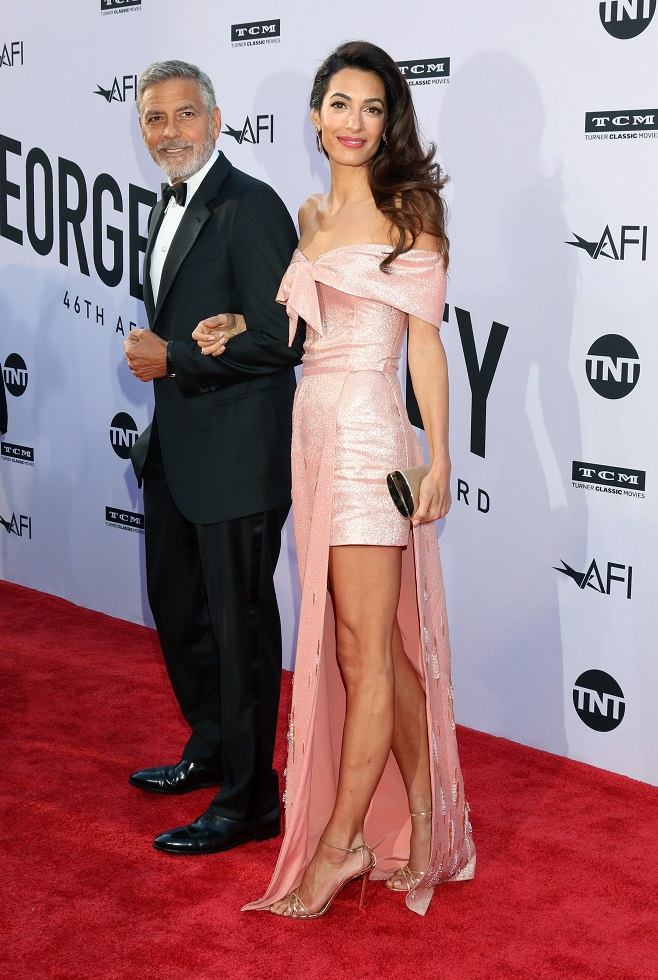 Amal Clooney in pink evening dress
