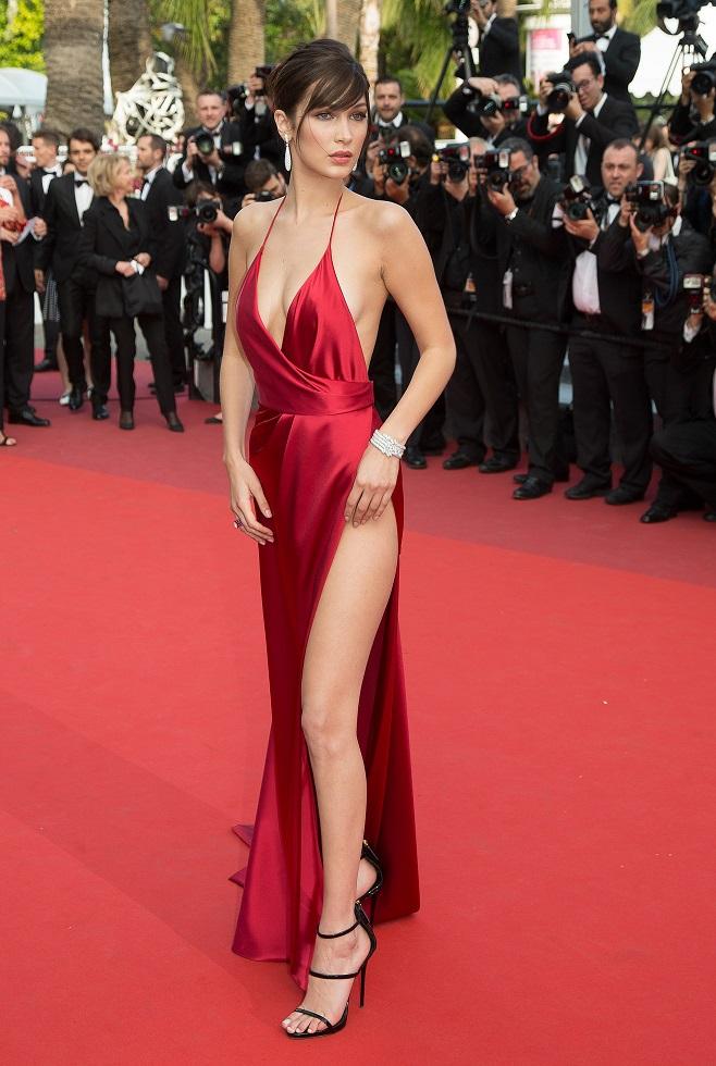 Bella Hadid in long red dress