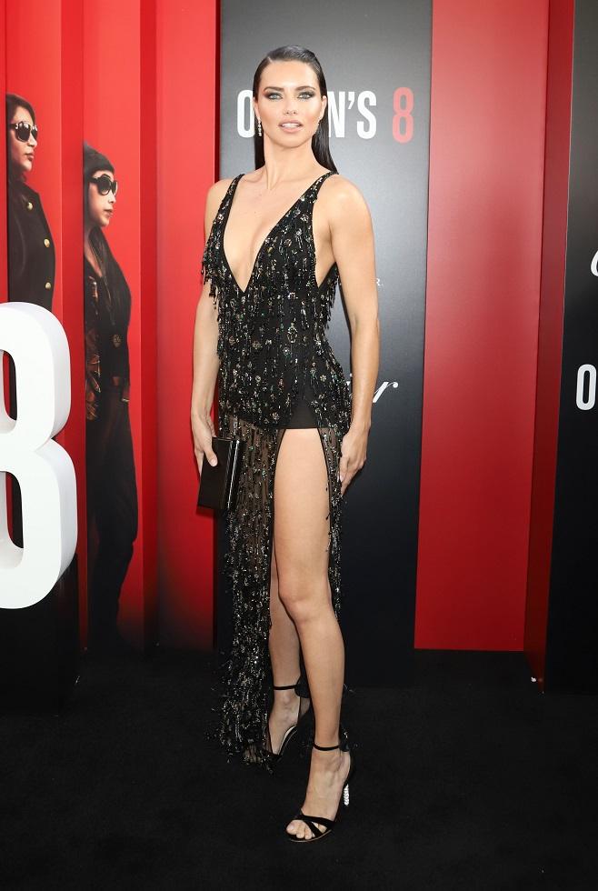 Adriana Lima in transparent dress