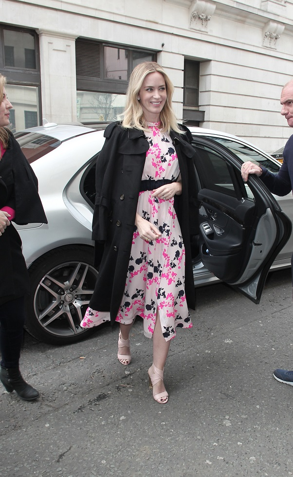 Emily Blunt in floral midi dress