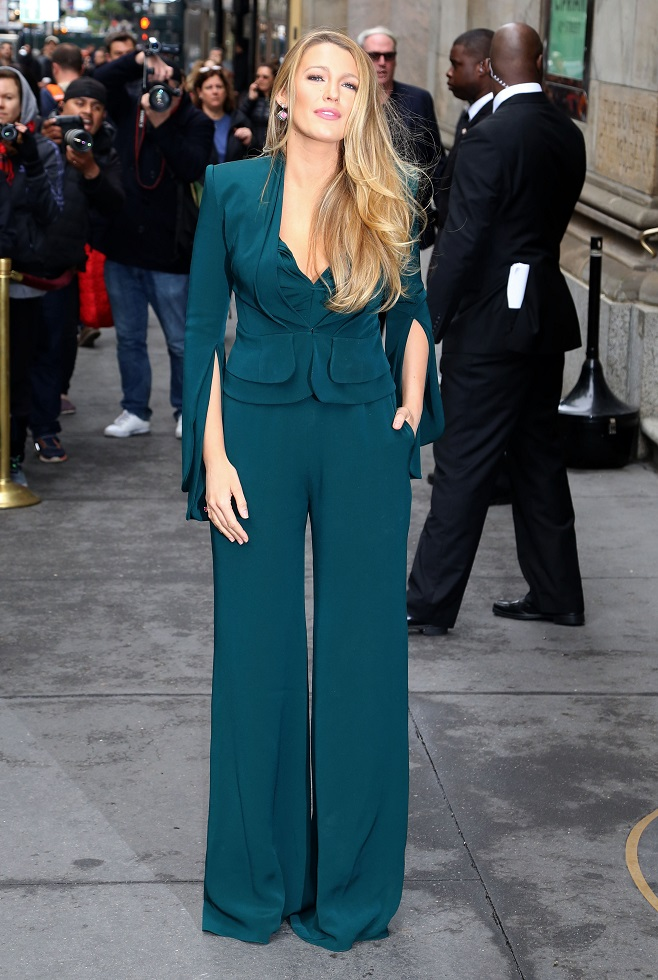 Blake Lively in forest green jumpsuit