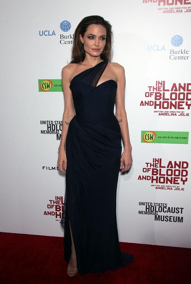 Angelina Jolie in one shoulder dress