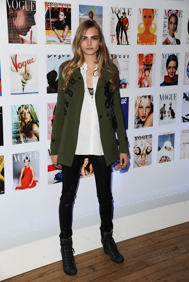 Cara Delevigne in military jacket