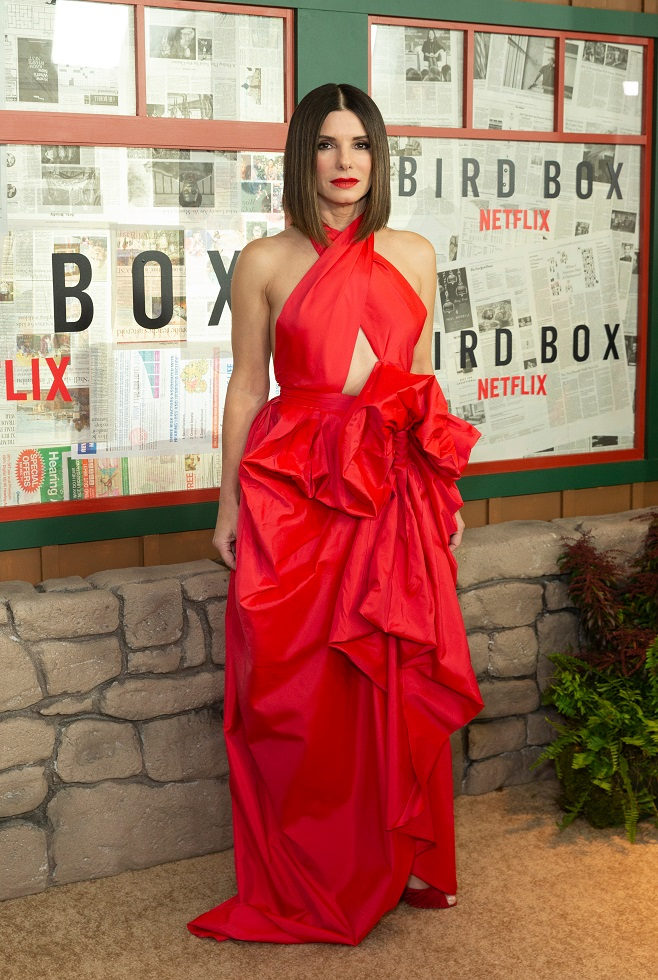 Sandra Bullock in red maxi dress