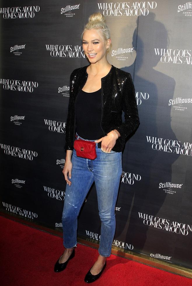 Karlie Kloss in black sequin blazer