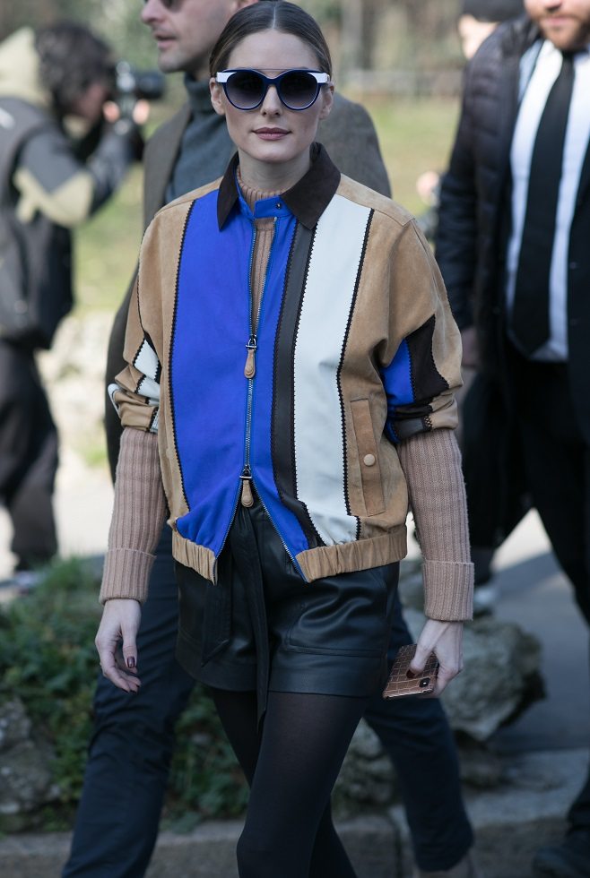 Olivia Palermo in Tod's bomber jacket