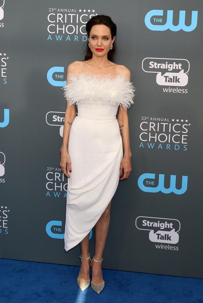 Angelina Jolie in white evening dress