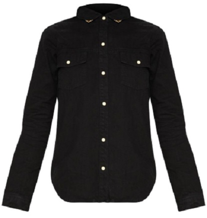 BLACK WESTERN TIPPED COLLAR DENIM SHIRT