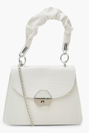 Ruched Handle Mini Structured Grab Bag