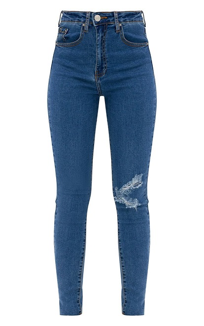 DARK WASH DISTRESSED KNEE HIGH WAISTED SKINNY JEAN