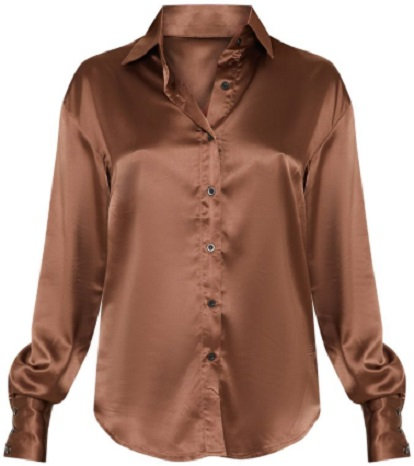 PETITE BROWN LONG SLEEVE SATIN SHIRT