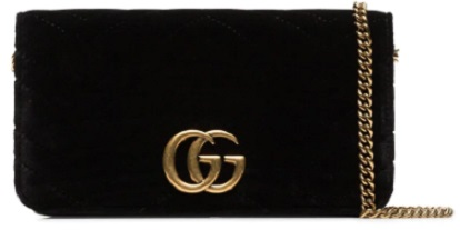 GUCCI black marmont chevron velvet clutch