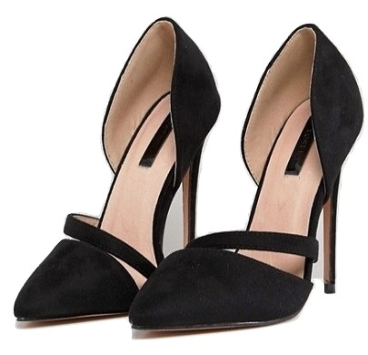 Lost Ink Black Cut Out Heeled Pumps