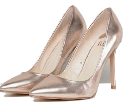 Faith Chloe Rose Gold Pointed Heeled Shoes