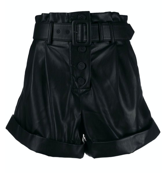 Self-Portrait leather look belted shorts