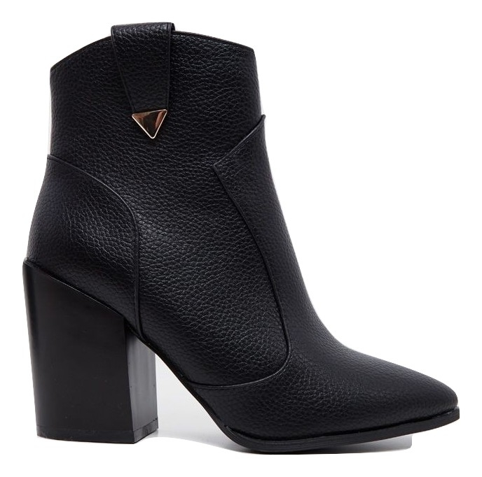 BLACK WESTERN DETAIL ANKLE BOOT