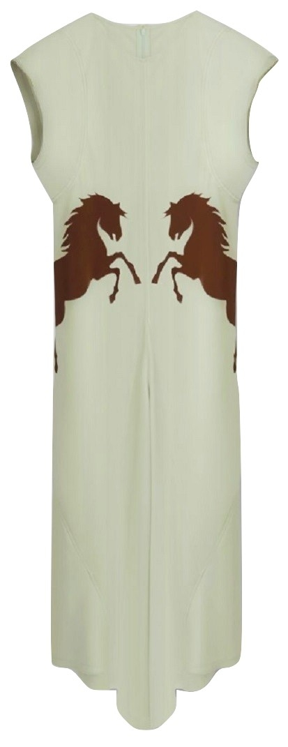 CAP-SLEEVE DRESS Satin crêpe dress with cap sleeves and horse inserts
