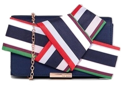 Ted Baker striped bow box clutch bag