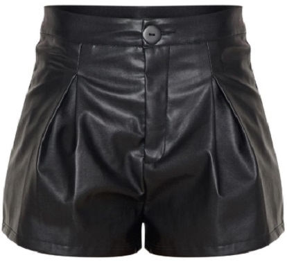BLACK FAUX LEATHER PLEAT FRONT SHORT