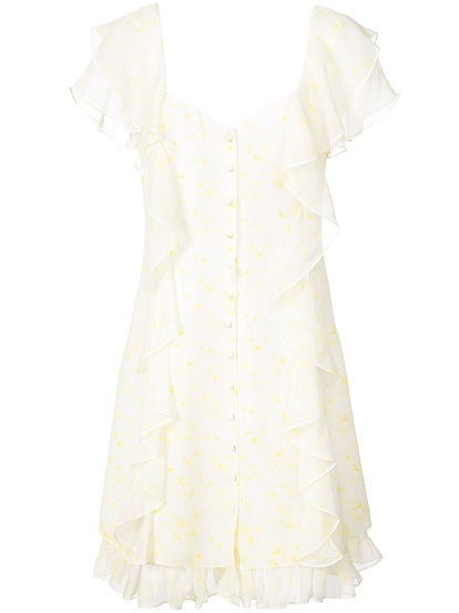 CINQ A SEPT printed ruffled shirt dress