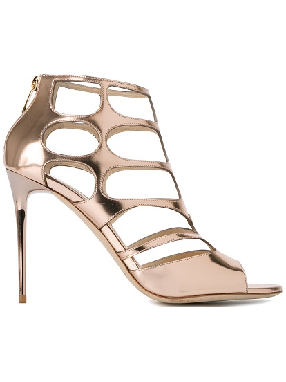 JIMMY CHOO Rose Gold Ren 85 caged sandals