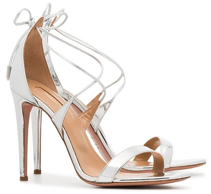 AQUAZZURA metallic Linda 105 leather sandals