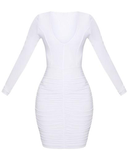 SHAPE WHITE RUCHED SLINKY MINI DRESS