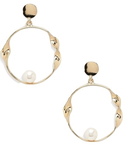Pearl & Twist Circle Earrings