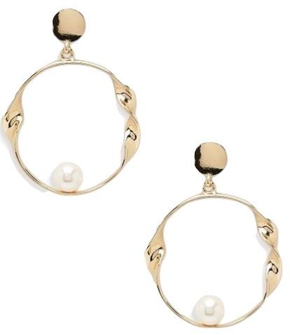 Pearl & Twist Circle Earrings