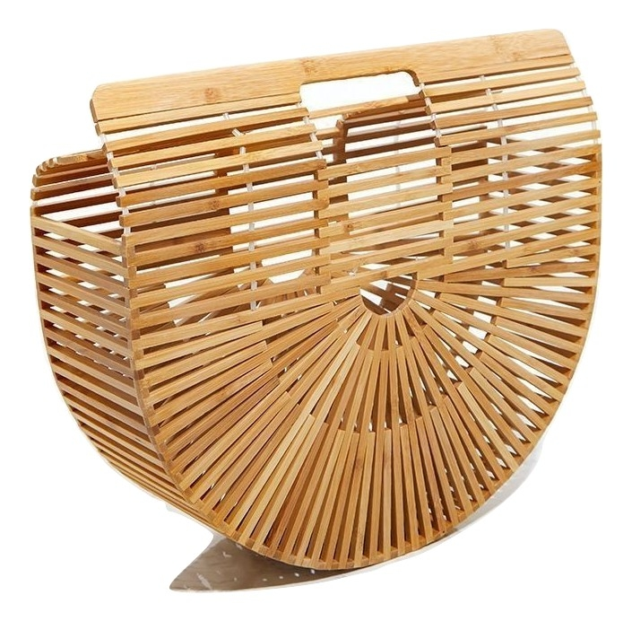 TAN LARGE WOODEN STRUCTURED CLUTCH BAG