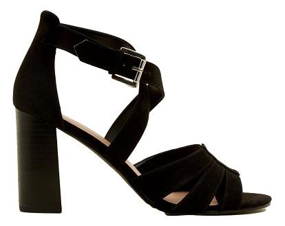 Black Suedette Cross Strap Block Heel Sandals