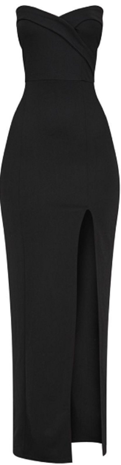 BLACK BANDEAU FOLDED DETAIL EXTREME SPLIT MAXI DRESS