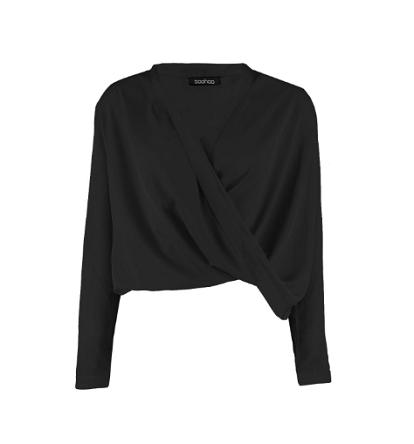 Draped Long Sleeve Blouse