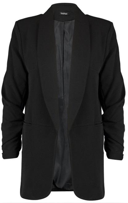 Jodie Longline Rouche Sleeve Seam Detail Blazer
