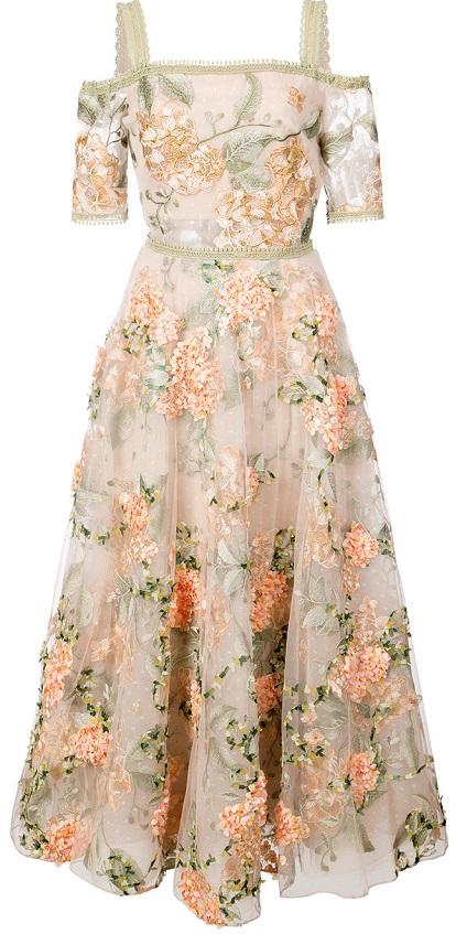 MARCHESA NOTTE floral-embroidered off-the-shoulder dress